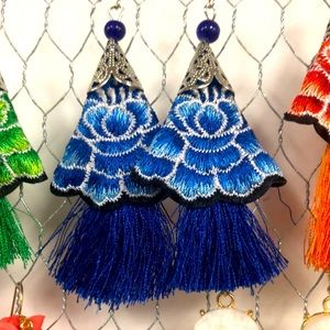 Floral Embroidered Earrings Colorful